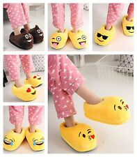 Unisex Emoji Expression Plush Stuffed Men Women Slippers Winter Warm Home Shoes