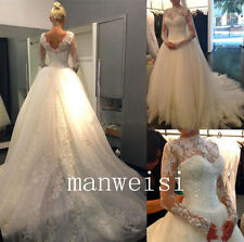 White Lace Appliques Long-Sleeve Wedding Dresses Beads A-Line Bridal Gowns Train
