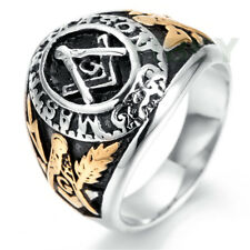 MEN Stainless Steel Mason Master Masonic Freemason Blue Lodge College style Ring
