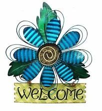New Metal Welcome Sign Flower Artisanal Daisy  Wall Front Door Art Decor
