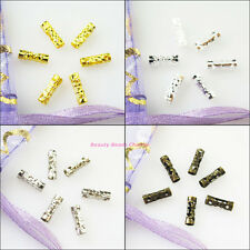 200Pcs Flower Tube Spacer Beads Connectors 3x9mm Gold Dull Silver Bronze Plated