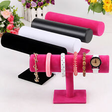 Durable Velvet Bangle Bracelet Jewelry Watch T-Bar Display Stand Holder Rack BD