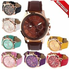 Unisex Casual Watch PU Leather Strap Analog Quartz Fashion Wrist Watches New LU