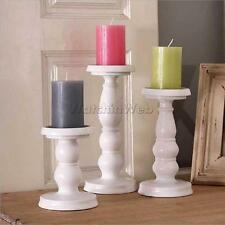 White Metal Church Pillar Candle Holder Candlestick Wedding Home Table Decor
