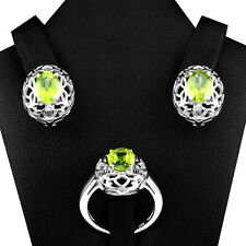 ADORABLE! NATURAL TOP RICH GREEN PERIDOT 9X7 MM OVAL CUT 925 SILVER JEWELRY SET