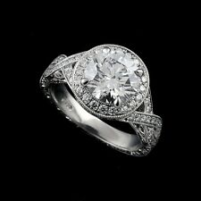 Vintage Style Inspired Pave Set Diamond Double Halo Platinum 950 Engagement Ring
