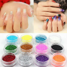 12/18 Colors Glitter Powder Dust Nail Art Acrylic UV Gel Decoration Set Makeup
