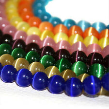 20Pcs Assorted Color Round Cat Eye Loose Spacer Stone Beads Jewelry Making 8mm