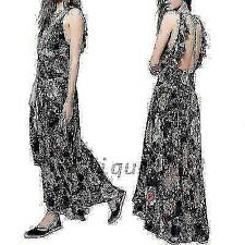 Flowly Halter Tunic Flower Boho Evening Prom Party Full Length Maxi Long Dress