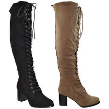 Womens Over Knee Boots Lace Up Block High Heel Shoes Black