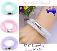 Crystal Stardust Wrap Mesh Double Layer Bangle Magnetic Clasp Bracelet Gift New