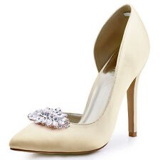 Ivory Pointed Toe High Heel Wedding Bridal Prom Shoes Crystals Clips Satin Pumps