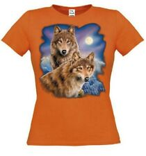 Women T Shirt in orange with animal- & nature motif Model Two Wolves Moon