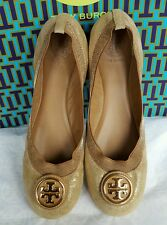 NIB TORY BURCH CAROLINE 2 BALLET FLAT SHOES LEATHER GOLD CLAY BEIGE REVA LOGO