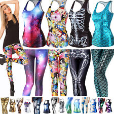 Sexy Womens 3D Graphic Printed Tee Tops Vest Gothic Punk T-Shirts Leggings Pants