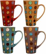 Ceramic Coffee Mug with Handle, Set of 4 Asst, Tall Ceramic Latte Mugs 16 Oz.