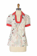 Anthropologie Bop and Stroll Blouse Size 4, Floral Print Cotton Top By Tabitha