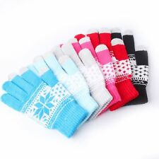 Soft Fashion Warm Winter  Men Women Touch Screen Gloves Knitted Snowflake