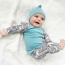 3pcs Toddler Infant Kids Baby Boy Girl T-shirt Tops+Pants+Hat Outfit Newborn Set