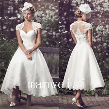 Short Ankle Length White Wedding Dresses Sweetheart Lace Bridal Gowns Custom