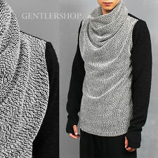 Men's Fashion Shirring High Neck Contrast Knit Handwarmer Knit Tee, GENTLERSHOP