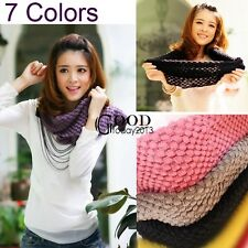Corn Knited Hood Neck Circle Cowl Wool Girls Scarf Shawl Wrap Loop Warm New TXGT