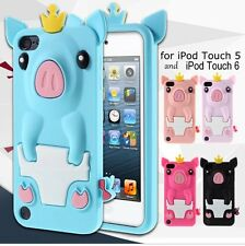 For iPod Touch 5th / 6th Gen - Soft Silicone Rubber Skin Case Cover Crown Pig