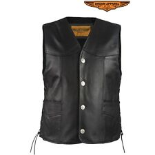Mens Leather Vest With 4 Buffalo Nickel Snaps and Concealed Gun Pockets