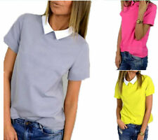 Doll Collar Slim Shirt Korean Women New Tops Short Sleeve Chiffon Pure Color