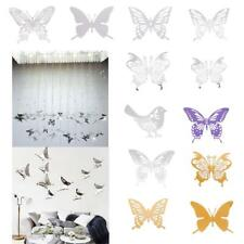 6Pcs Butterfly Wall Sticker Stainless Steel Mirror Decal Home Room Decoration