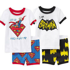 Kids Boy Superman Batman Print Superhero T-shirt + Short Pant Set Baby Playsuits