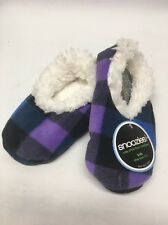 New Kids Snoozies Purple & Blue Plaid Slippers - Soft & Super Comfy