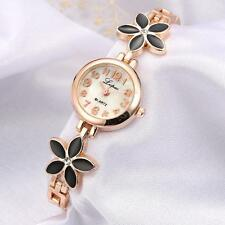 Womens Ladies Girls Fashion Daisies Flower Rose Golden Bracelet Wrist Watch T6A0