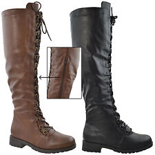 Womens Faux Leather Knee High Boots Combat Lace Up Shoes Black
