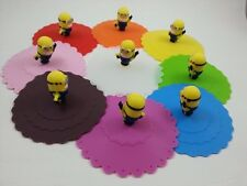 Silicone cup mug cover lid minions yellow pink orange blue red pink cute nice