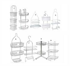 Stylish Bathroom Shower Caddy Chrome Plastic Hanging Hook Over Bath Organiser