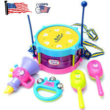 5pcs Kids Children Baby Roll Drum Musical Instruments Band Kit Set Children Toy