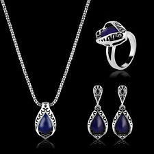 Crystal Party Prom Necklace Earrings Ring Wedding Bridal Vintage Jewelry Set New
