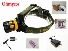 Ohmycos Rechargeable Blue/White Light Led Camping Headlamp Hiking Hunting Torch