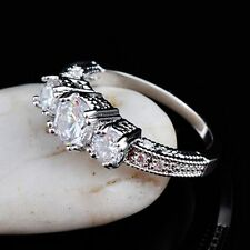 Jewelry Size 6-9 10KT Ring White Sapphire White Gold Filled Wedding Band Ring