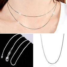 GUT New Wholesale solid Silver lots 5pcs 1mm snake chain Necklace 16-30inch