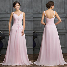 Long Beaded Chiffon Bridesmaid Evening Dresses Formal Prom Cocktail Gown Dress #