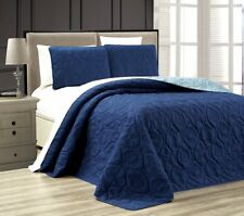 Queen Cal King Bed Navy Blue Beach Coastal Seashells 3 pc Quilt Set Coverlet
