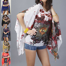 Summer Women Batwing Sleeve Chiffon Floral Loose T-shirt Blouse Top Plus Size