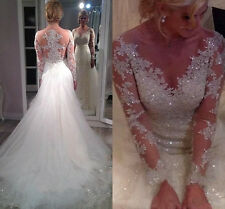 Sexy V-neck long-sleeve beaded bridal gown wedding dresses Custom Made All Size