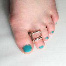 Solid Silver 925 Handmade Adjustable Spiral Twist Double Toe Ring.