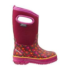 Bogs CLASSIC SWEET PEA Girls Rubber Berry Pink Slip On Kids Winter Snow Boots