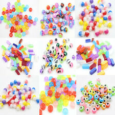 Wholesale DIY 50/100Pcs Acrylic Colorful Round Beads Mixed Color Jewelry Crafts