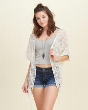 Abercrombie & Fitch - Hollister Womens Kimono Lace Blouse L Off White NWT