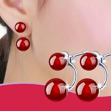 Jewelry Black Fashion Drop Natural Silver Plated Ear Stud Earrings Agate